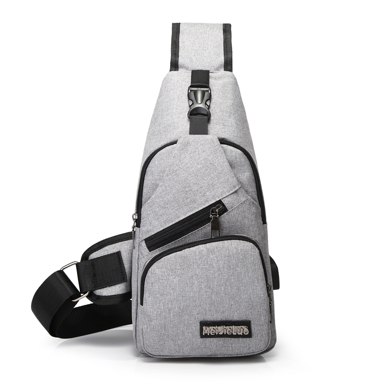 Men's Crossbody Chest Bags Men USB Charging Headphone Plug Designer Messenger Oxford Shoulder Bag Diagonal Package 2019 Travel