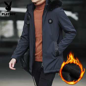 Brand Playboy Fashion Men's Slim Removable hat Fur Collar Cotton Jacket Warm Comfortable Clothes