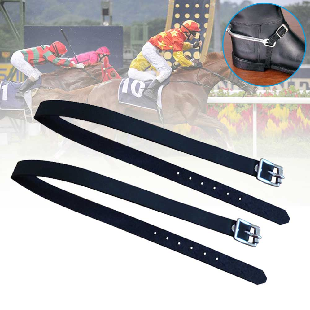 2 Pcs Accessories Training Sports Protective Spur Strap Horse Riding Outdoor With Buckle Solid PU Leather Durable Equipment Long