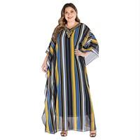Asymmetrical Striped Print Maxi Dress Women Beading V Neck Batwing Sleeve Chiffon Frock Female Loose Plus Size Big Swing Dresses
