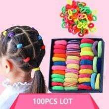 100 шт., резинки для волос для девочек, детская резиновая повязка на голову, ювелирная повязка на голову для женщин, аксессуары для волос, свадебная тиара, эластичная цветная