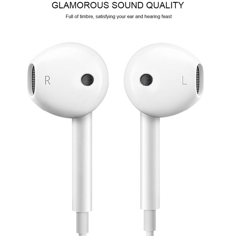 3.5mm Wired Earphones Music Earbuds Stereo Gaming earphone with Microphone For iPhone Xiaomi Huawei ps4 Sport off white Headset image