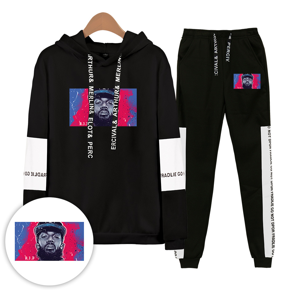 Flash Sale Autumn/Winter Nipsey Hussle Hoodies Sweatshirts And Sweatpants Cotton Men/children Two Piece Set Sportswear