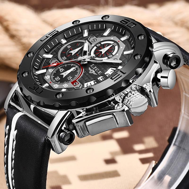 New Fashion Watch Men LIGE Top Brand Sport Mens Watches Waterproof Quartz Clock Man Casual Military WristWatch Relogio Masculino