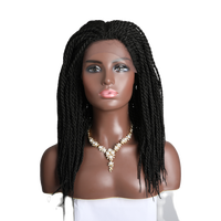 14 inch Braid Wig Synthetic Lace Front Wig for Black Women Full Hand Made Braid Lace Front Wigs with Baby Hair Box Braid Wig