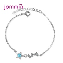 Concise Cute Women 925 Sterling Silver Pendant Bracelets Five-pointed Star Cubic Zirconia Simple Elegant Jewelry Party Gift цены онлайн