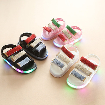 LED lighting Fashion children sandals Cute casual kids shoes elegant Lovely baby boys girls footwear