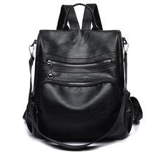 12l черный женский кожаный рюкзак 2020 классические школьные
