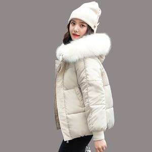 Image 1 - WXWT kışlık mont ceket parkas 2020 yeni kadın moda büyük kürk yaka kapşonlu kalın pamuk aşağı ceket rusça kış ceket