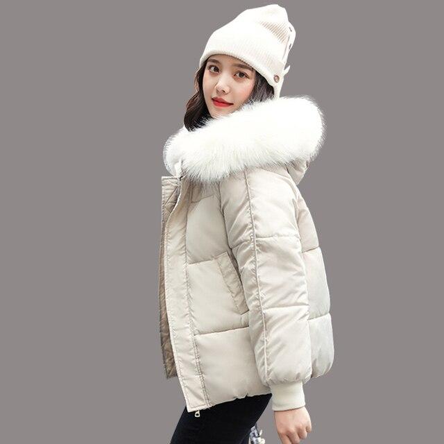 WXWT kışlık mont ceket parkas 2020 yeni kadın moda büyük kürk yaka kapşonlu kalın pamuk aşağı ceket rusça kış ceket