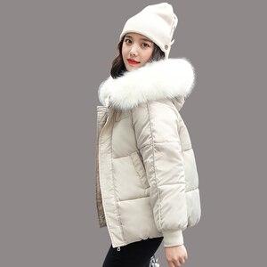 Image 1 - Wxwt casacos de inverno jaqueta parkas 2020 nova moda feminina grande gola de pele com capuz grosso algodão para baixo casaco de inverno russo
