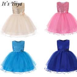 It's Yiya/Платья с цветочным узором для девочек 6 цветов, длинное платье для девочек без рукавов с круглым вырезом, пышные платья для причастия