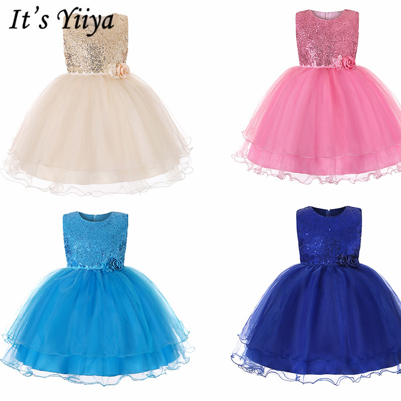 It's YiiYa   Flower     Girl     Dresses   6 Colors Sleeveless O-Neck Floor Length   Girls   Pageant Communion   Dresses   Kids Party Ball Gown 732