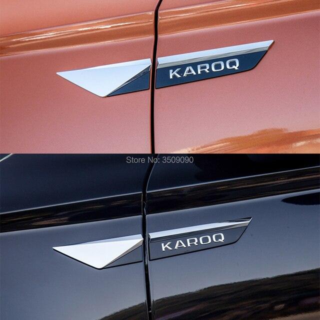 Insigne demblème de côté de porte de voiture | Pour Skoda Karoq 2017 2018 2019, garniture de garde-boue dailes originales, 4 pièces/ensemble