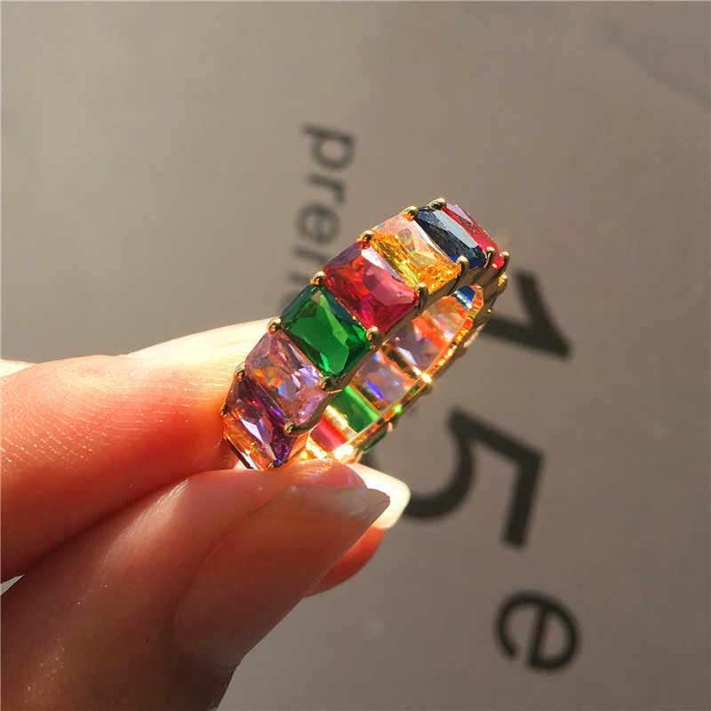 Charm Nữ Hình Vuông Rainbow Nhẫn Đính Đá Zircon Cao Cấp Tình Yêu Cưới Đính Đá Màu Vàng Độc Đáo Vàng Ngón Tay Cho Nữ, Nhẫn Nữ