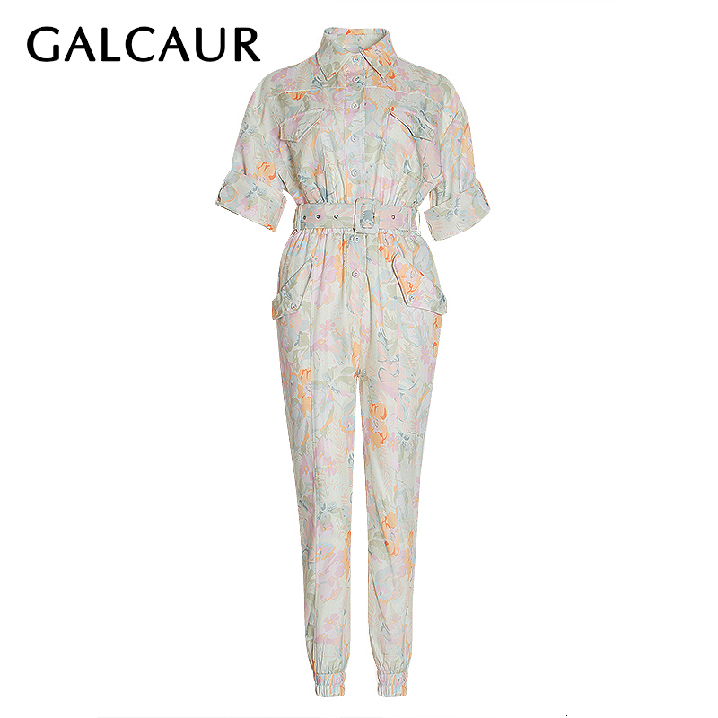 GALCAUR Casual Print Hit Color Jumpsuits For Female Lapel Collar Short Sleeve High Waist With Sashes Jumpsuit Women 2020 Fashion