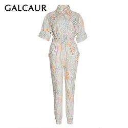 Galcaur Casual Print Hit Kleur Jumpsuits Voor Vrouw Revers Kraag Korte Mouwen Hoge Taille Met Sjerpen Jumpsuit Vrouwen 2020 Fashion