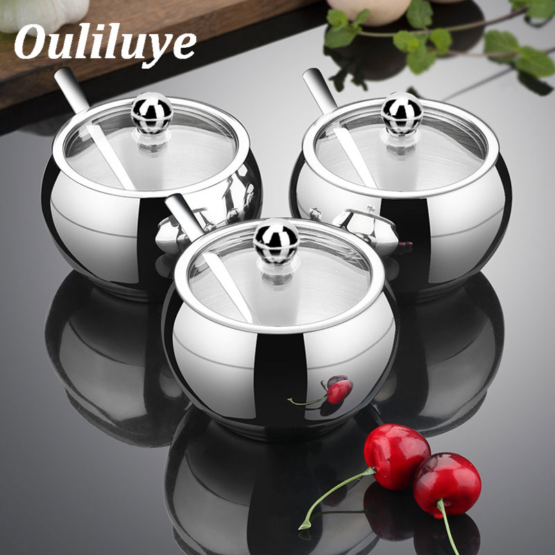 Kitchen Stainless Steel Sugar Bowl With Lid And Spoon Portable Sugar Box Container Cooking Sugar Seasoning Jar Storage Bottle