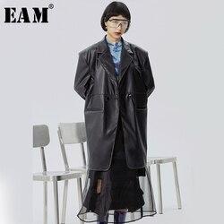 [EAM] Lose Fit Schwarz Pu Leder Split Joint Long Jacke Neue Revers Lange Hülse Frauen Mantel Mode Flut frühling 2020 1S981