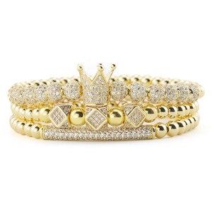 Image 2 - 3pcs/Set Luxury Gold beads Royal King Crown Dice Charm CZ Ball Men Bracelet mens fashion bracelets & bangles for Men Jewelry