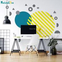 Cores personalizadas círculo decalque da parede grande sólido abstrato casa decoração geométrica arte moderna escandinavo murais yt5550