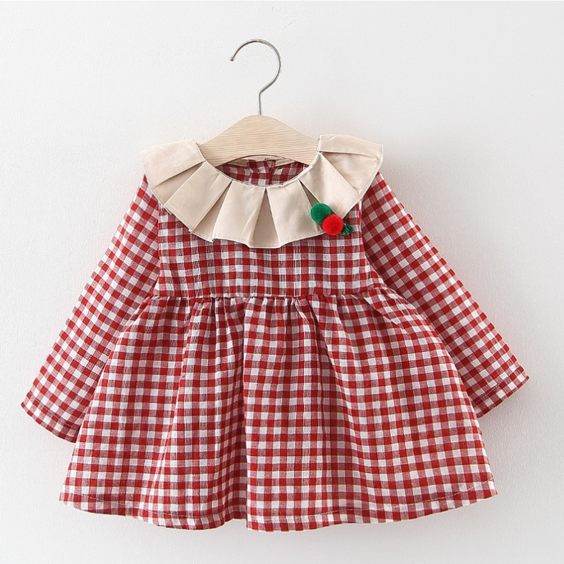 2020 Cotton <font><b>Red</b></font> Newborn Baby <font><b>Girls</b></font> Princess Clothes <font><b>Red</b></font> Plaid Design Baby <font><b>Girls</b></font> <font><b>Long</b></font> <font><b>Sleeve</b></font> Princess Birthday <font><b>Christmas</b></font> <font><b>Dress</b></font> image