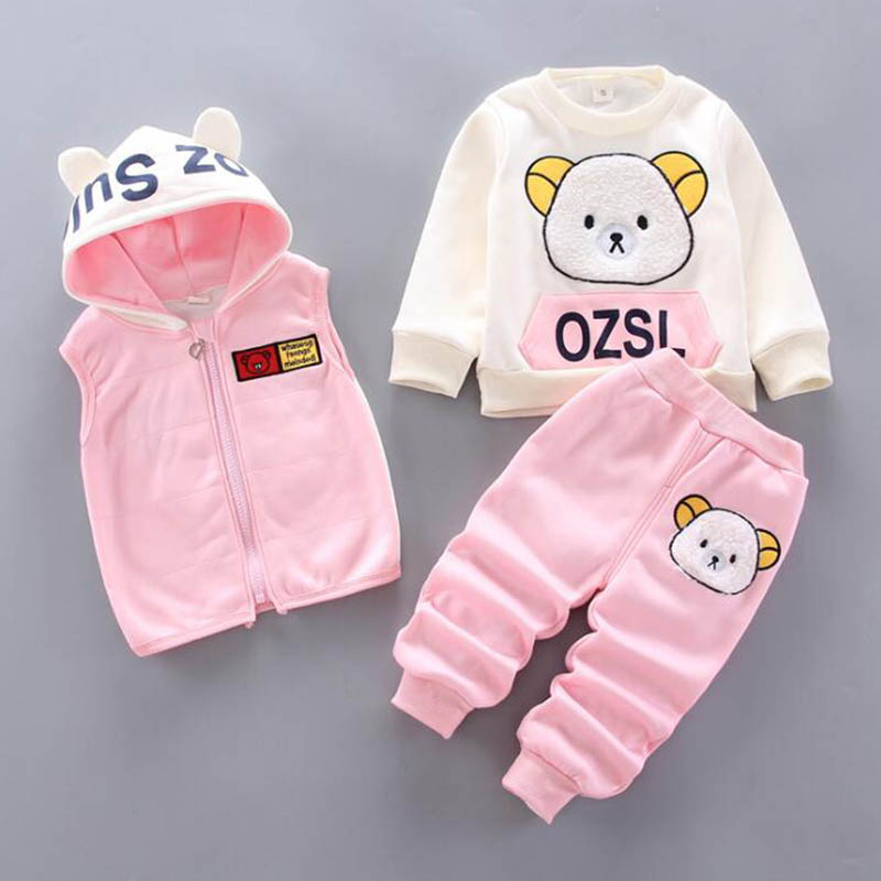 Baby Boys And Girls Clothing Set Tricken Fleece Children Hooded Outerwear Tops Pants 3PCS Outfits Kids Toddler Warm Costume Suit 6