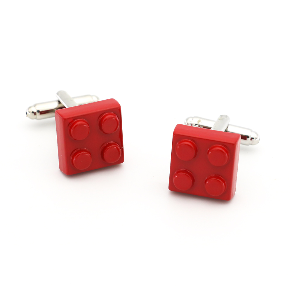 Blocks Cufflinks For Men Classic Toy Design Quality Brass Material Red Color Cuff Links Wholesale&retail