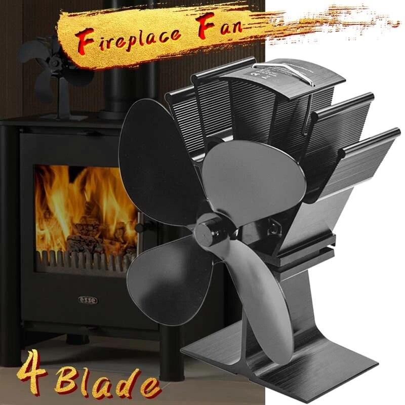 Fan Wood Stove Log Heat Powered Fireplace Burner Blades 4 Blade Eco Friendly
