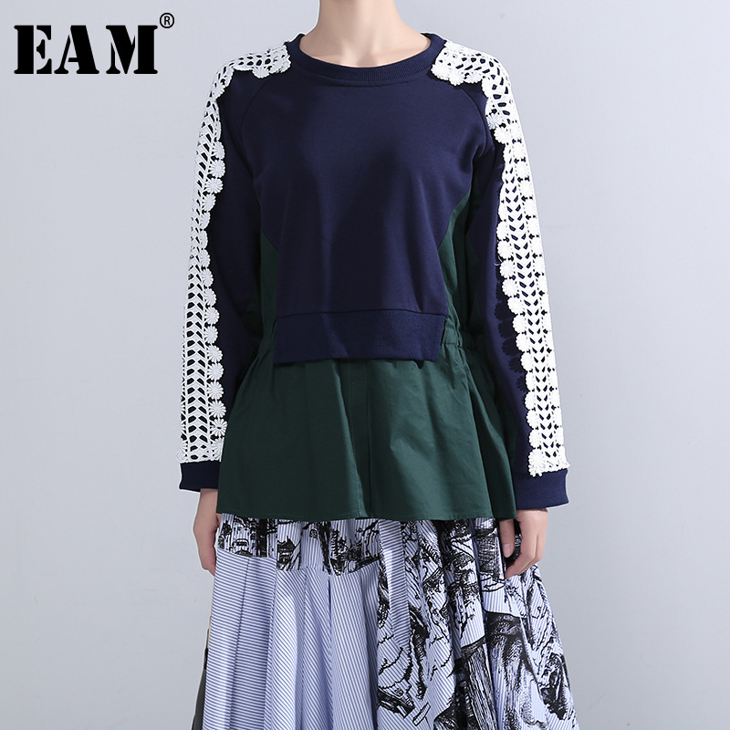 [EAM] Loose Fit Black Lace Split Pleated Sweatshirt New Round Neck Long Sleeve Women Big Size Fashion Autumn Winter 2019 1H565
