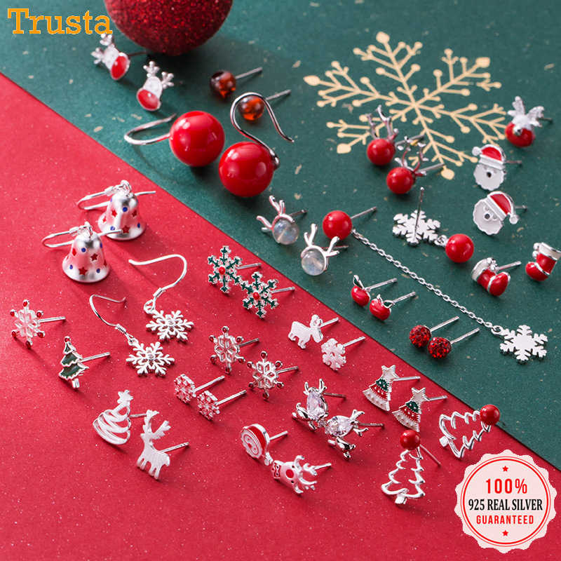 Trusta 2019 100% 925 Real Sterling Silver Fashion Women's Jewelry Sweet Christmas Stud Earring Gift For Girls Teens  Lady DA01