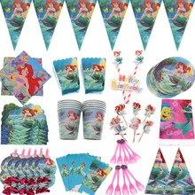Sereias ariel descartáveis talheres guardanapos banner palhas copo pratos meninas chá de fraldas festa de aniversário decoração suprimentos