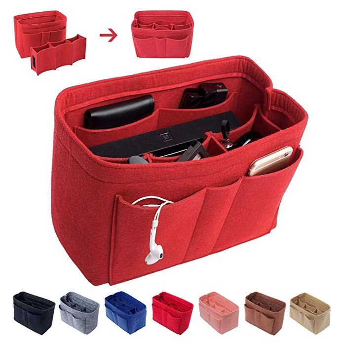 Felt Handbag Insert Organizer Bag In Bag with Two Removeable Bottle Holder