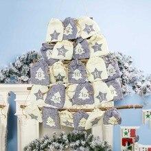 Украшение Адвент календарь ткань для хранения офис Рождество обратный отсчет классная подвесная сумка для дома настенные конфеты вечерние подарок на год