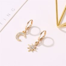 Gold Color Crystal Earrings Star Moon Charm Eardrop Ear Accessories Rhinestone Small Round Circle Hoop Earring Jewelry For Women(China)