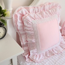 European embroidered cushion cover ruffle Lace Satin cotton pillow cover Backrest Lumbar Pillow Square Hold Pillow