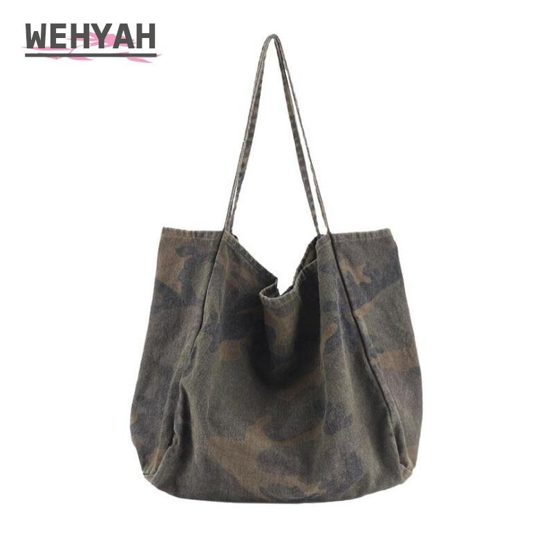 Wahyah дамские ручные сумки для женщин сумки камуфляж большой клатч сумка на плечо большая емкость повседневные джинсовые сумки ZY045