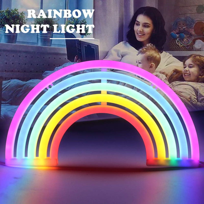 LED Rainbow Neon Sign Night Light Rainbow Decor Neon Lamps Birthday Party Living Room Party Wall Decor For Girls Bedroom