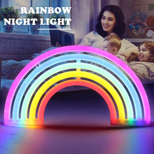 LED Rainbow Neon Sign Night Light Decor Lamps Birthday Party Living Room Wall for Girls Bedroom