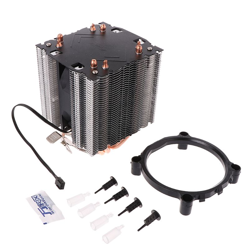 1PC Thermal Grease + 4 Heatpipe 130W Red CPU Cooler 3-Pin Fan Heatsink For Intel LGA2011 AMD AM2 754