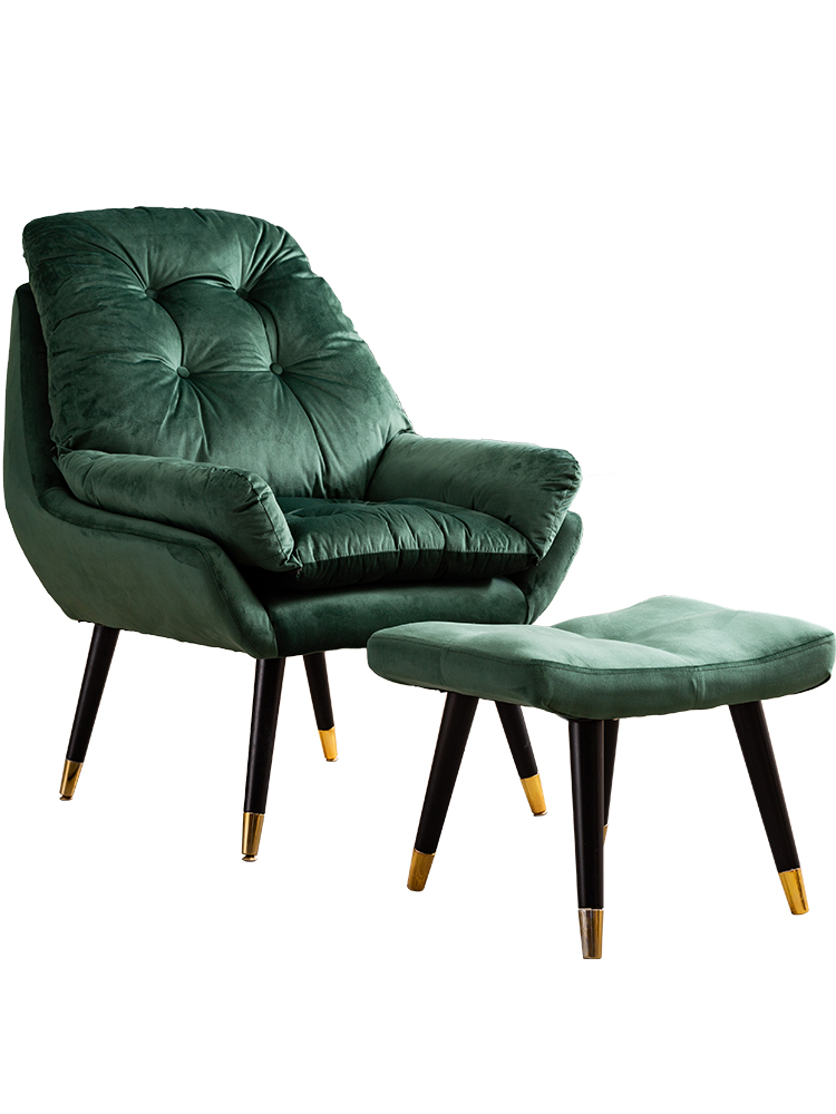 Nordic Chaise Lounge Synthetic Leather Golden Metal Chair Leisure Chair Living Room Furniture Sallanan Sandalye Cadeira Cheap