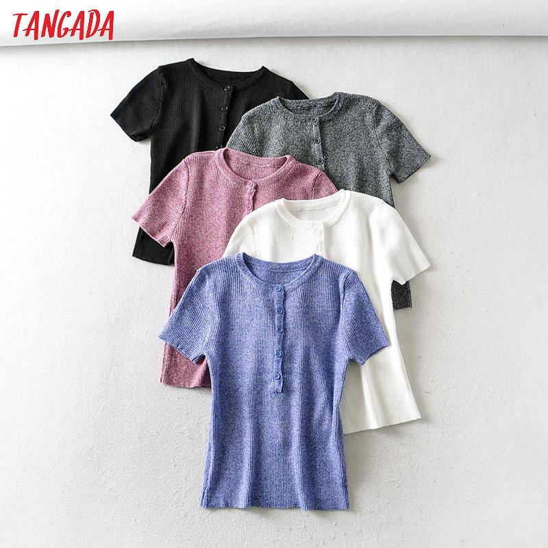 Tangada Women Elegant Summer T Shirt Short Sleeve Buttons O Neck Tees Ladies Casual Tee Shirt Street Wear Top 2B05