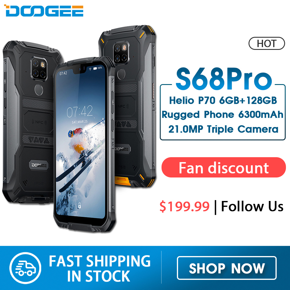 IP68 Waterproof DOOGEE S68 Pro Rugged Phone Helio P70 Octa Core 6GB 128GB Wireless Charge NFC 6300mAh 12V2A Charge 5.9 inch FHD