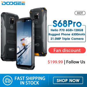 IP68 Waterproof DOOGEE S68 Pro Rugged Phone Helio P70 Octa Core 6GB 128GB Wireless Charge NFC 6300mAh 12V2A Charge 5.9 inch FHD+(China)