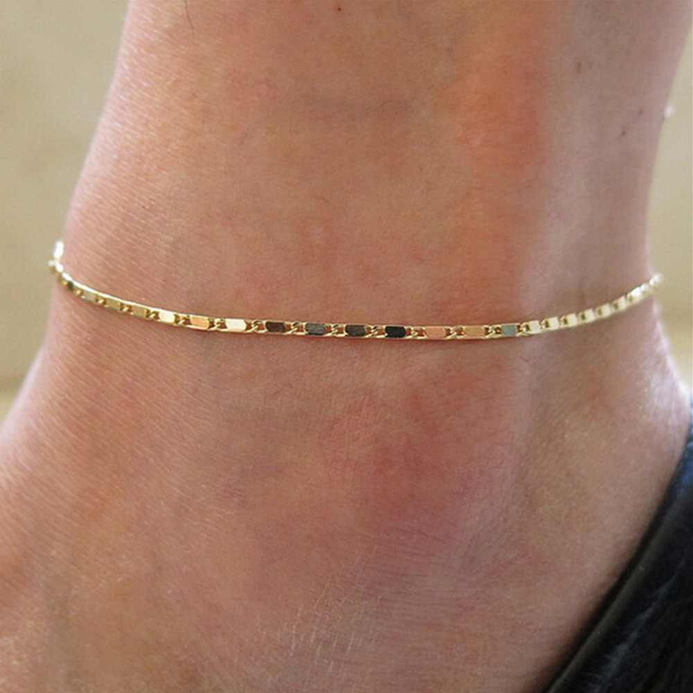 Pulseira tornozeleira feminina dos pés descalços, acessórios da moda, estilo simples, bracelete de cobra dourado, corrente de tornozelo, 1 peça