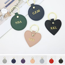 Key-Ring Leather Keychain Letters Free-Custom Round Girls Initial Saffiano with Female
