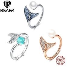 Bisaer 100% 925 Sterling Zilver Vrouwelijke Mermaid Tail Verstelbare Vinger Ringen Voor Vrouwen Wedding Engagement Sieraden S925 GXR286