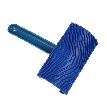 Blue Rubber Wood Grain Paint Roller DIY Graining Painting Tool Wood Grain Pattern Wall Painting Roller with Handle Home Tool