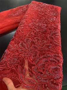Lace-Fabric Dress Mesh Tulle Handmade African Nigerian French High-Quality for YA3436B-3