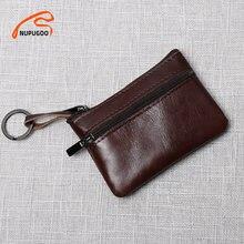 NUPUGOO-Mini monedero de cuero genuino para hombre y mujer, cartera pequeña de cuero genuino, marrón, Vintage, informal, para tarjeta de crédito, pequeña bolsa con cremallera para llave de bolsillo